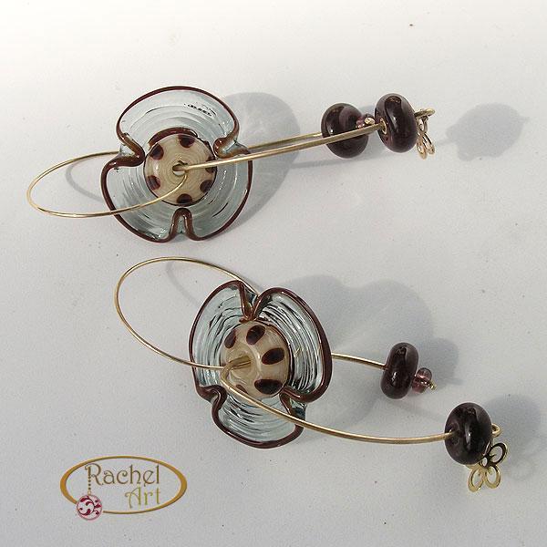 Long Earrings, Dangling Flower Glass Beads Earrings, Goldfilled Rings, Handmade