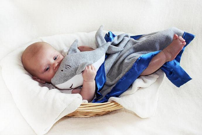 Great White Shark Security Blanket, Lovey Blanket, Satin, Baby Blanket, Stuffed