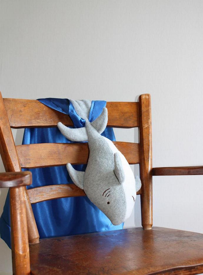 Great White Shark Security Blanket, Lovey Blanket, Satin, Baby Blanket, Stuffed