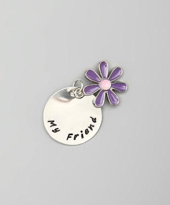 "CUSTOM- 7/8"" Sterling Silver Pendant w/ Purple Flower Charm, Hand Stamped"