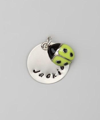 """CUSTOM- 3/4"""" Sterling Silver Pendant w/ Green Ladybug Charm, Hand Stamped"""