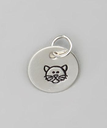 "1/2"" Sterling Silver Cat Pendant - Hand stamped"