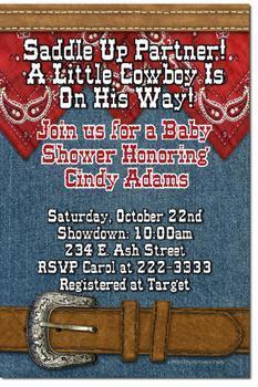 Cowboy Cowgirl Western Baby Shower Invitations (download jpg immediately)