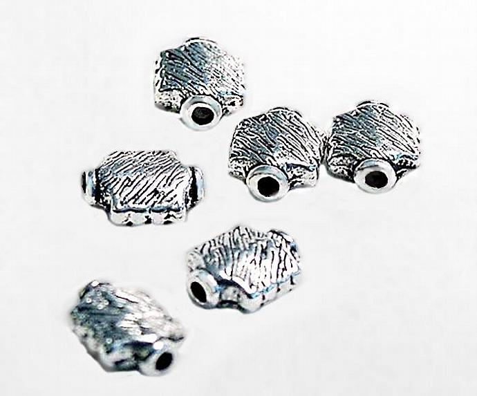 Little Gem- silver pewter spacer beads
