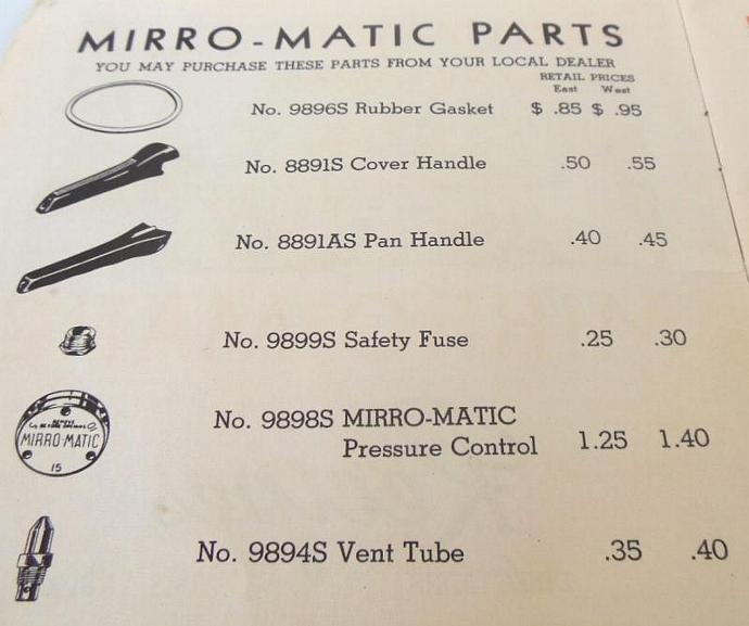 Mirro Pressure Cooker Vent Tube Replacement Part 9894S Vintage M0498