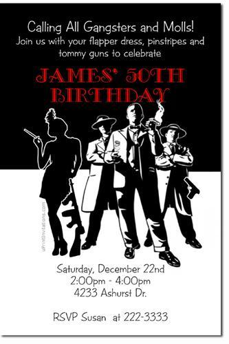 Roaring 20s Gangsters and Molls Birthday Invitations (Download JPG Immediately)