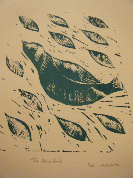 The Blue Bird - Lino Print