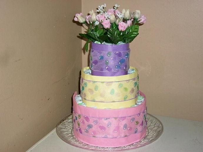 FLOWER BOUQUET PASTEL 3-tier baby | readymadediapercakes