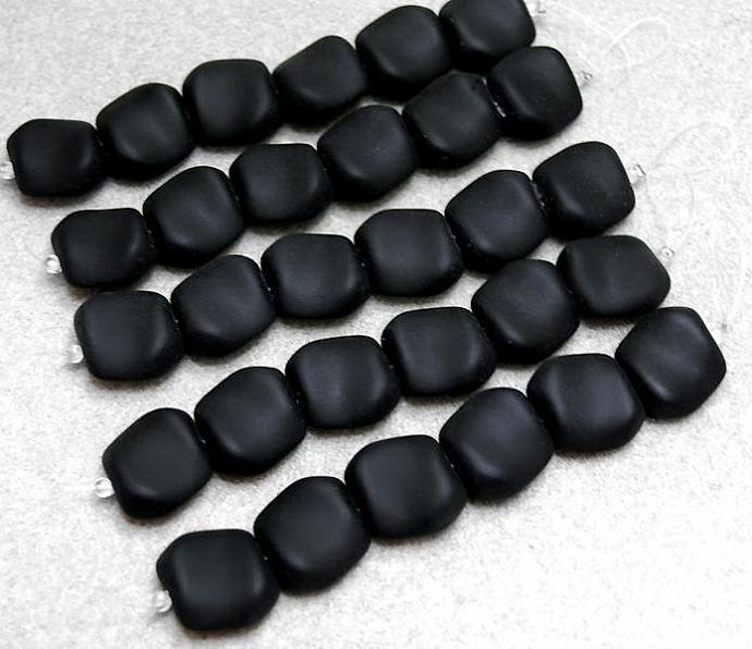 Jet Black Lava Nuggets- recycled sea glass beads
