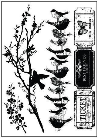 SALE! NEW! Prima Songbird Cling Mount Rubber Stamps