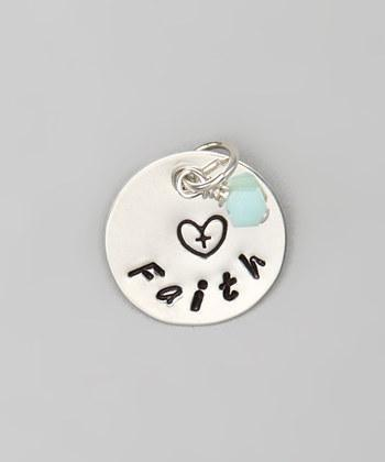 """Custom - 5/8"""" Personalized Sterling Silver Pendant w/ Crystal Charm, Hand"""