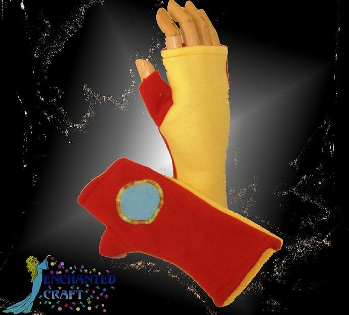 Fun fleece Iron Man fingerless gloves
