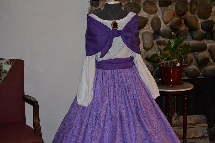 Civil War Day Dress Pioneer Colonial Skirt, Blouse, Shawl and Sash