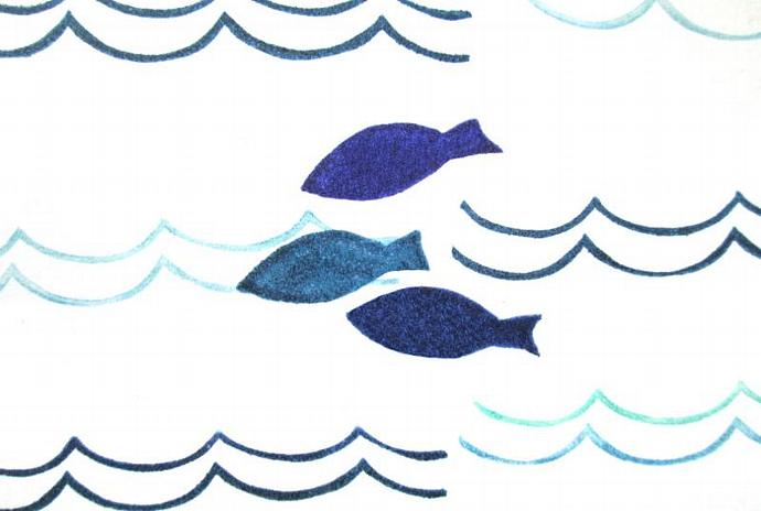 Three Little Fish Hand Carved Rubber Stamp