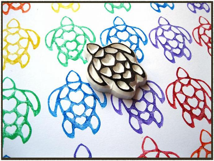 Turtle Love Hand Carved Rubber Stamp