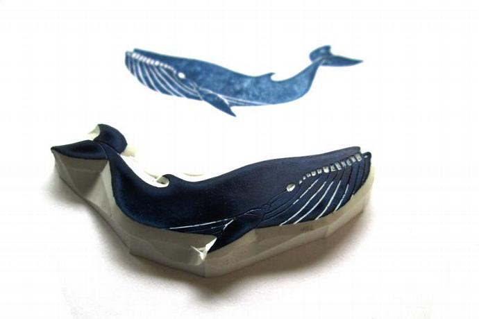 Blue Whale Rubber Stamp, Hand Carved Whale Stamp