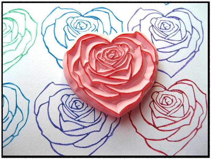 Heart Rose Hand Carved Rubber Stamp