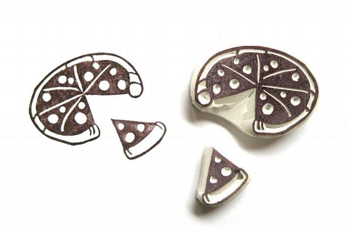 Pizza Pie and Slice Hand Carved Rubber Stamps