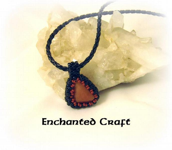 orange aventurine beaded pendant- chocolate and black