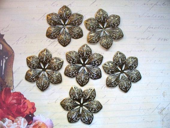 6pcs. 6cm Filigree Flower Antique Bronze (FRB-02)