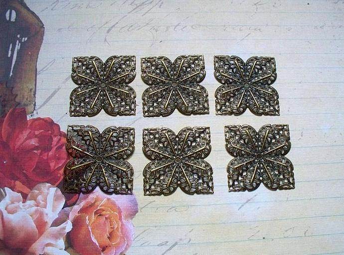 6pcs 36mm Filigree Flower Antique Bronze (FSQB-02)
