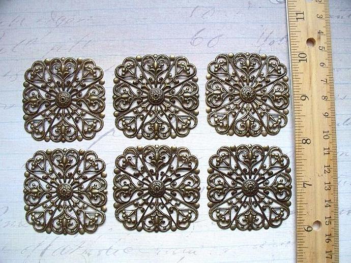 6pcs 5X5cm Filigree Flower Antique Bronze (FSQB-03)