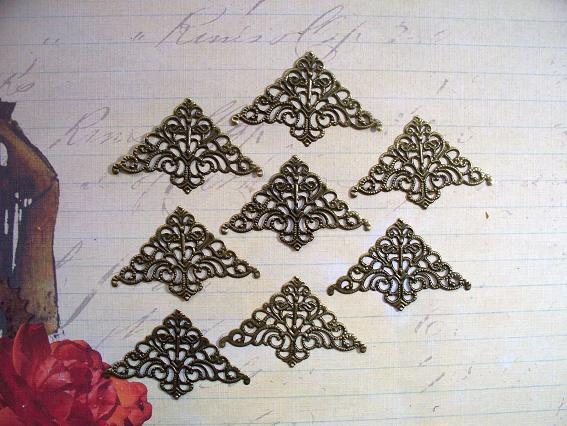 "8pcs 2""x1.1/4"" Filigree Corner Antique Bronze (FTB-04)"