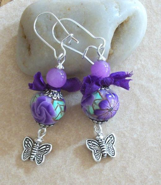 Polymer Clay  Polynesian Flower and Butterfly Silver Dangle Earrings