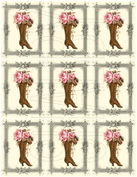 Shabby Chic Pink Roses Vintage Boot collage sheet for scrapbook and cards  DC659