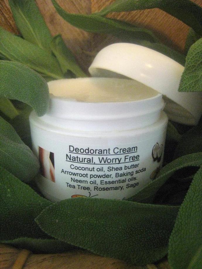 All Natural Deodorant, Cream Deodorant in a Jar, Coconut , Shea Butter, Neem,