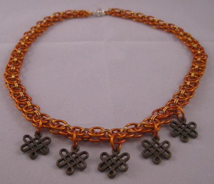 Orange & Gold Helm Chain Chainmaille Necklace with Bronze Celtic Accent Beads