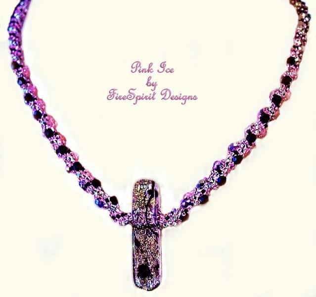 Pink Ice- beadwoven necklace