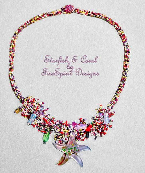 Starfish & Coral- OOAK beadwoven necklace