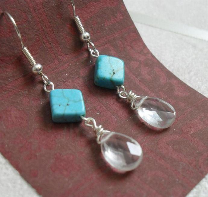 Desert Rain Earrings - Handmade Beaded Turquoise and Glass