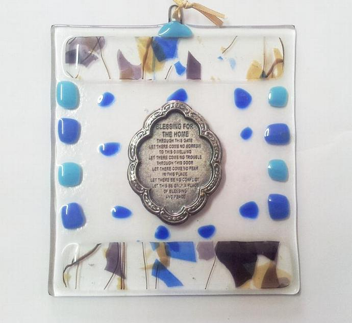 New Home Blessing Fused Glass blue colors handmade israel present free shipping