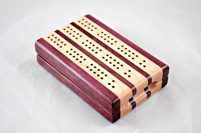 3-Player Travel Cribbage - Purpleheart & Maple