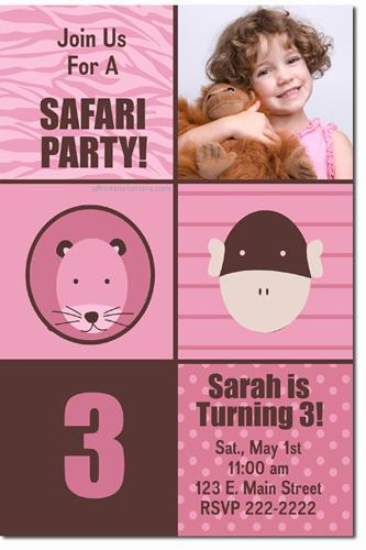 Zoo Animals Jungle Safari Birthday Invitations  (Download JPG Immediately)
