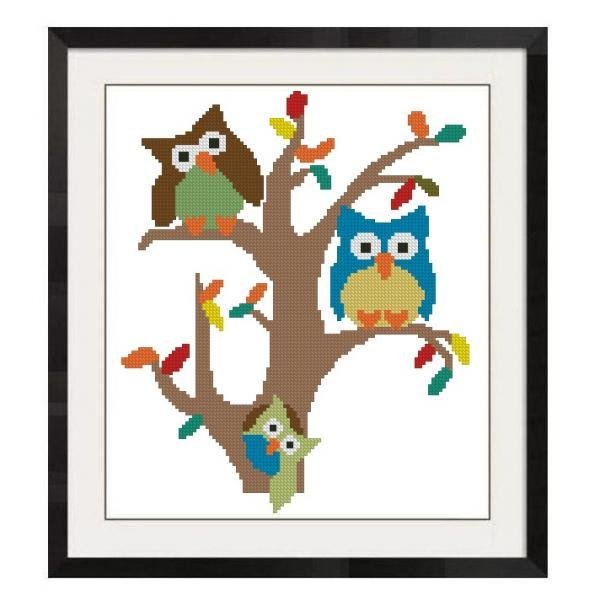 ALL STITCHES - OWLS ON TREE BRANCH CROSS STTICH PATTERN .PDF -827