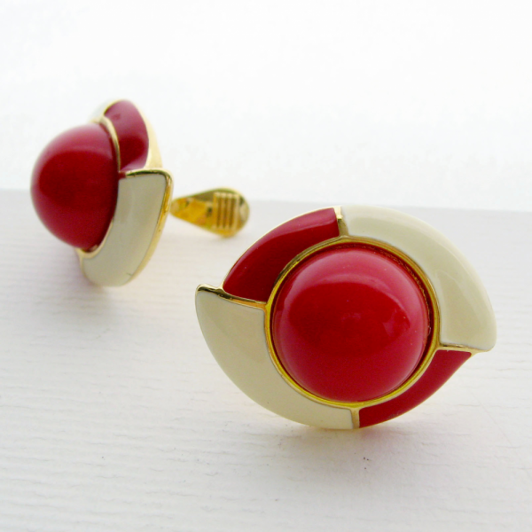 Monet Signed Enamel Geometric Red Cream Clip Earrings