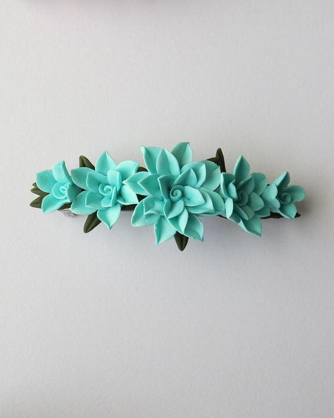 Turquois Cold Porcelain Floral French Barrette