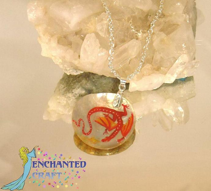 hand painted Smaug the Red dragon shell pendant with silver bail