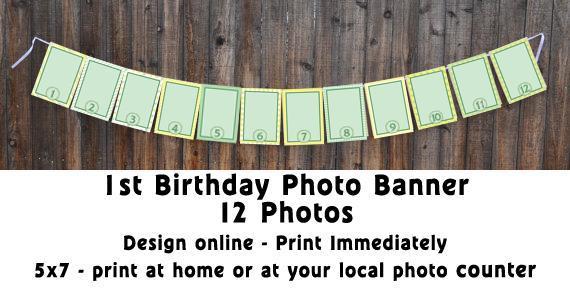 1st Birthday Photo Banner  (Design Online)