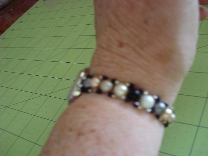 Glass Pearl Bead Bracelet Watch