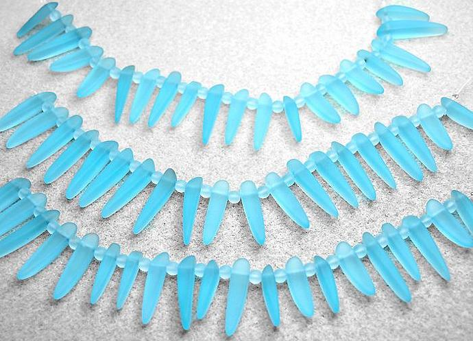 Turquoise Bay Daggers- recycled sea glass pendants