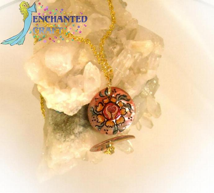 hand painted Rosemaling rose shell pendant with silver bail