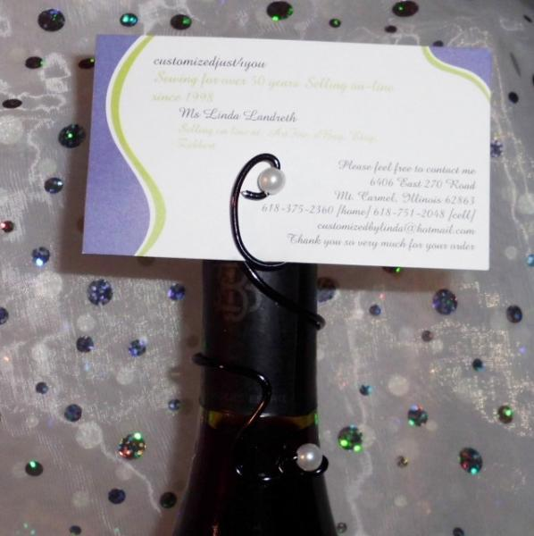 10 Oval bottle topper with Pearl card holder for Wine, Champagne, Beer bottle