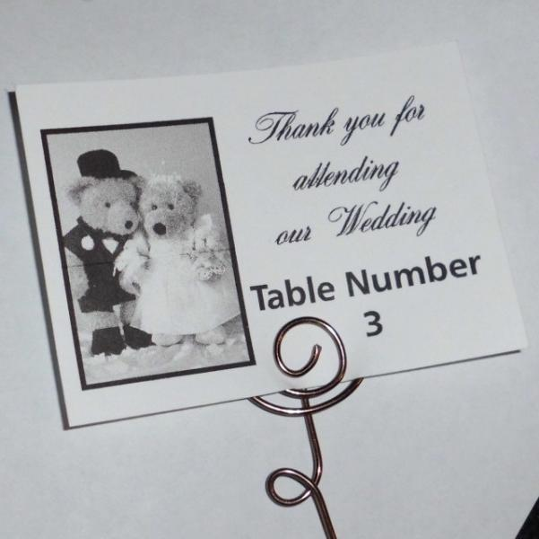 Treble Clef shape wire place card photo table number holders