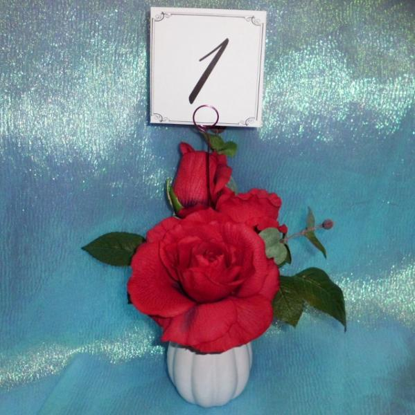 Wedding Set of 24 Red Wire Swirl Card holder and Table Number Place Cards