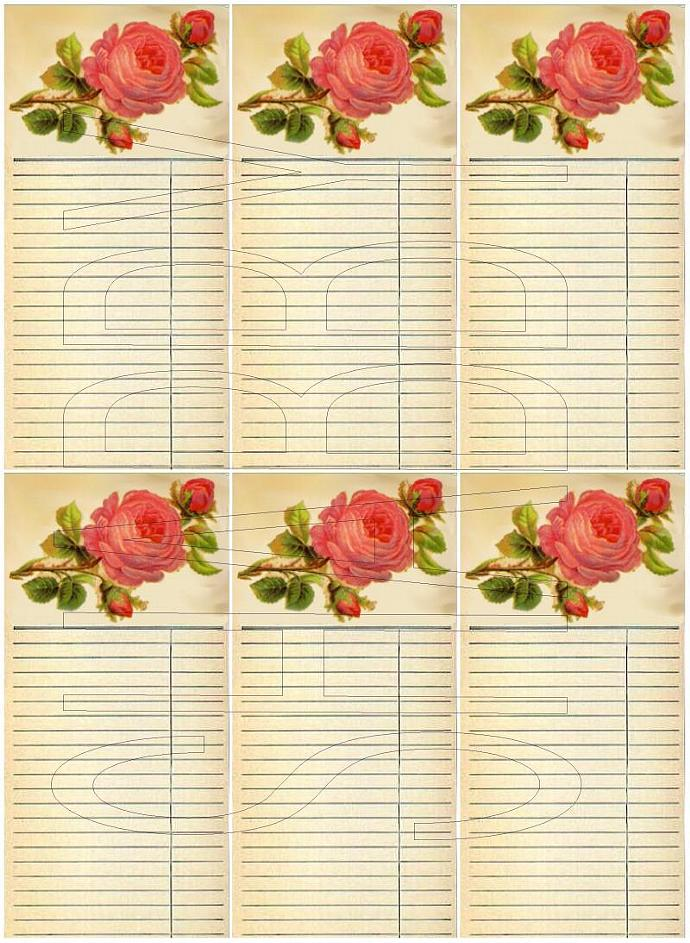 Shabby Chic Roses Journal Spot Tag Digital Collage  sheet for scrapbook and