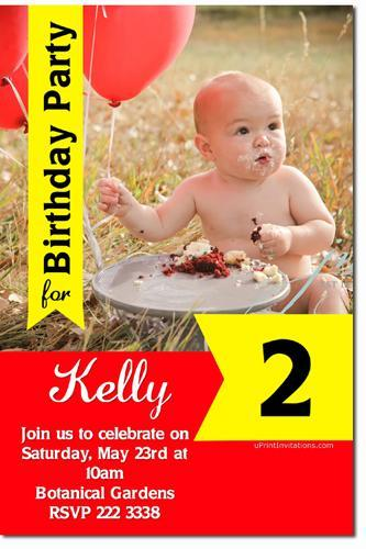 Photo Birthday Party Invitations ANY COLOR SCHEME (Download JPG Immediately)